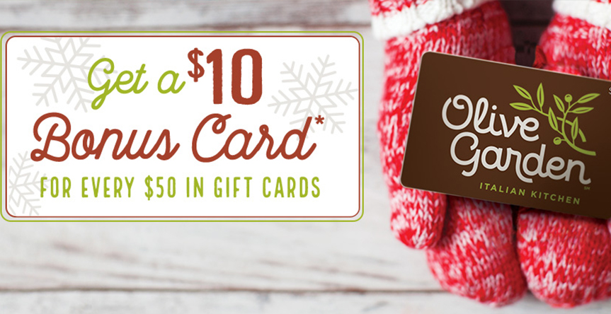 Alliance town center article detail 10 bonus card for every 50 in gift cards at olive garden for Olive garden gift card specials